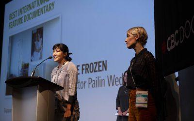Pailin collecting Award at Hot Docs 2019